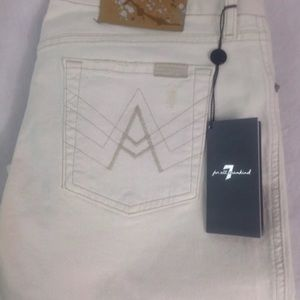 "7 FOR ALL MANKIND NWT Ivory Waist 30"" Inseam 32"""